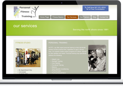 Website For Fitness Studio services page